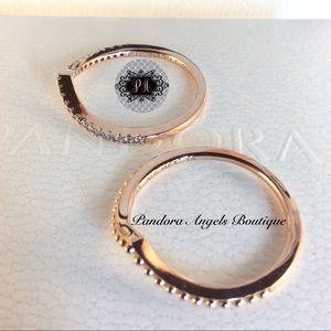 2 New Pandora Rose Wishbone Rings